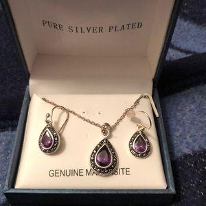 Purple and marcasite jewelry set